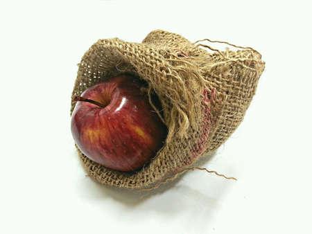 apple sack: Apple in Gunny Sack Stock Photo