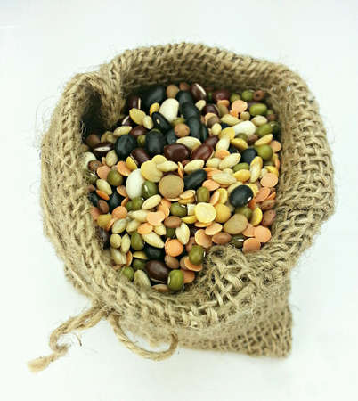 Organic Mixed Beans in Gunny Sack on White Back Ground