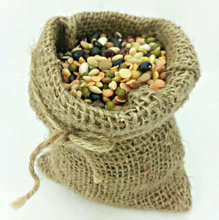 weave: Organic Mixed Beans in Gunny Sack on White Back Ground