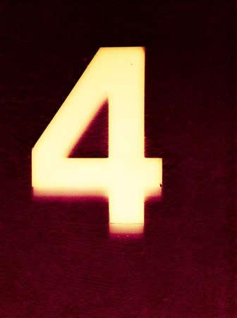 glow: Number 4 glowing in the dark