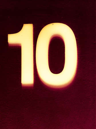 number ten: Number ten glowing in the dark Stock Photo
