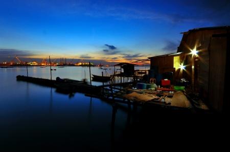 far east: Pueblo de pescadores, Senibong, Johor, Malaysia