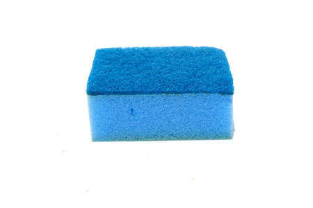 Blue scouring pad and sponge isolated on white background.scouring pad and sponge is a cleaning tool used for scouring a surface and cleaning a dishes after cooking.