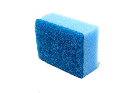 Blue scouring pad and sponge isolated on white background.scouring pad and sponge is a cleaning tool used for scouring a surface and cleaning a dishes after cooking. Banco de Imagens - 91748385