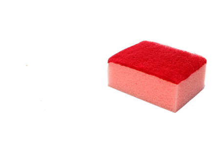 Red scouring pad and sponge isolated on white background for background and add text message.scouring pad and sponge is a cleaning tool used for scouring a surface and cleaning a dishes after cooking.