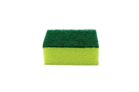 Green scouring pad and sponge isolated on white background with copy space.scouring pad and sponge is a cleaning tool used for scouring a surface and cleaning a dishes after cooking.