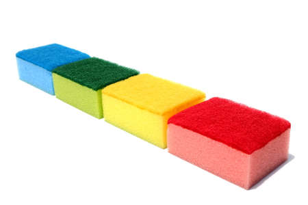 Various color of scouring pad and sponge isolated on white background. scouring pad and sponge is a cleaning tool used for scouring a surface and cleaning a dishes after cooking.