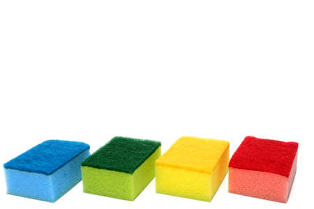 Various color of scouring pad and sponge isolated on white background with copy space. Imagens