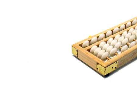 An abacus calculator for background and add text message.is a calculating tool that was in use in Europe, China and Russia, centuries. It are used to teach arithmetic. Education and Financial concept. Stock Photo