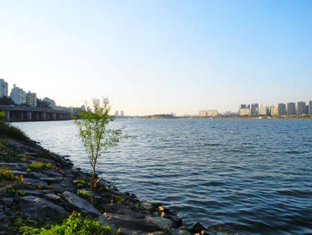 Han River nearby the park at Seoul,South Korea. Stock Photo
