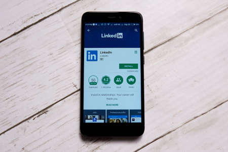 KUALA LUMPUR,MALAYSIA - JANUARY 28TH,2018 : LinkedIn display in android Play Store.LinkedIn is business- and employment oriented social networking service that operates via websites and mobile apps.