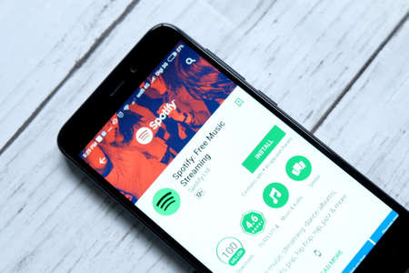 KUALA LUMPUR,MALAYSIA - JANUARY 28TH,2018 : Spotify app on android Play Store.Spotify is a music, podcast, and video streaming service.
