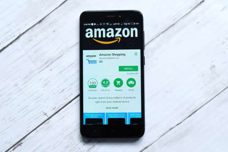 KUALA LUMPUR,MALAYSIA - JANUARY 28TH,2018: Amazon app display on android Play Store.Amazon was founded by Jeff Bezos on July 5, 1994.