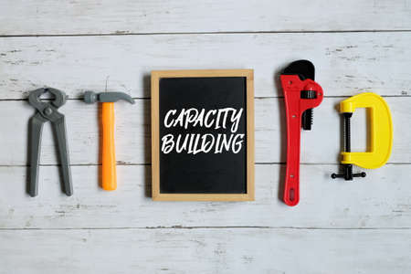 Blackboard written with CAPACITY BUILDING. 写真素材