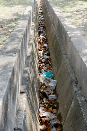 drain clogged with dead leaves and rubbish.