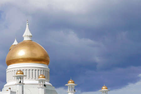 Top View of Sultan Omar Ali Saifuddin Mosque, Bandar Seri Begawan, Brunei, Southeast Asia with dramatic clouds.