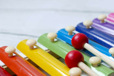 Close up view and selective focus of colorful rainbow xylophone.