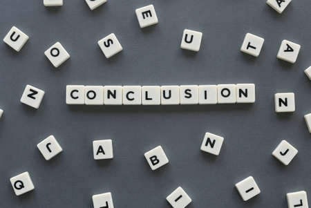 Conclusion word made of square letter word on grey background. Stock Photo