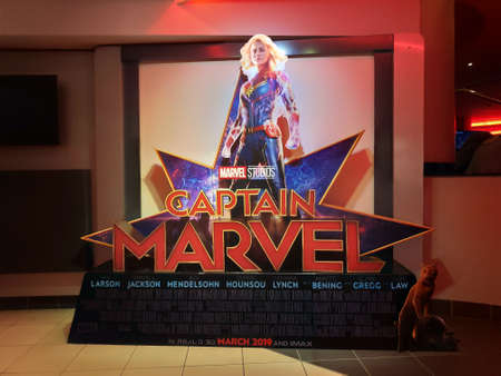 BANDAR SERI BEGAWAN,BRUNEI - CIRCA MARCH,2019 : A Standee of The Marvel Hero Movie Captain Marvel display at cinema. 新聞圖片