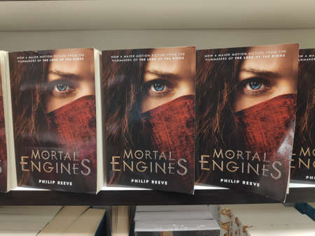 MIRI,MALAYSIA - CIRCA MARCH,2019 : Mortal Engines by Philip Reeve book for sell in the bookstore.
