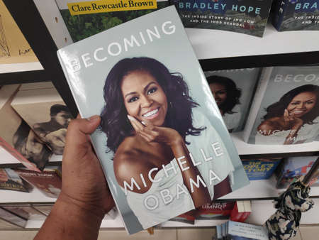 MIRI,MALAYSIA - CIRCA MARCH,2019 : Becoming book written by Michelle Obama at the bookstore.
