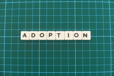Adoption word made of square letter word on green square mat background.