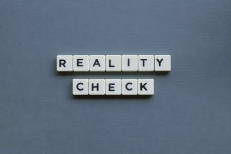 ' Reality Check ' word made of square letter word on grey background.