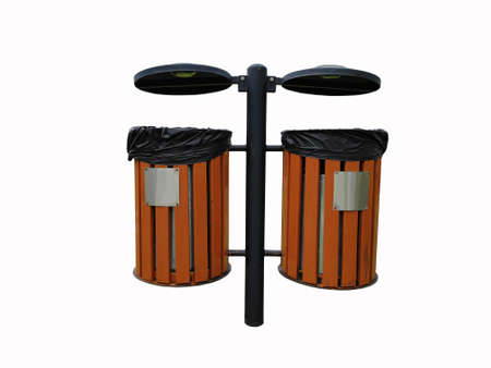 A garden brown wooden and black steel of dustbin isolated on white background.