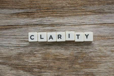 Word Clarity alphabet on wooden