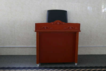 Rostrum with chair inside a mosque. Banque d'images