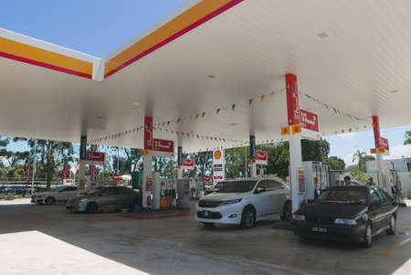 KULIM,MALAYSIA - CIRCA FEBRUARY,2020 : View of Shell gas station. Royal Duch Shell is largest oil company in the world.