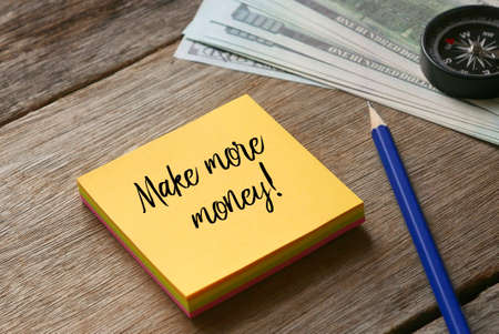 Selective focus of pencil,compass,dollar note and yellow sticky notes written with Make Money Online! on wooden background.