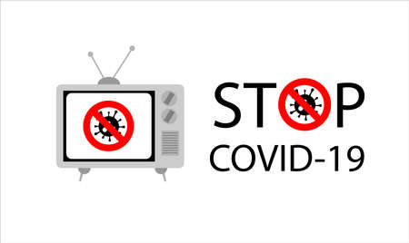 Vector sign of advice to Stop Covid-19 or coronavirus. Covid-19 start on 2019 and become pandemic virus.