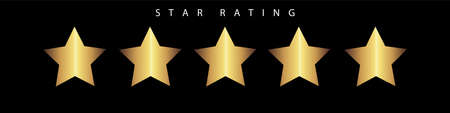 A vector of five gold stars isolated on a black background represent rating the feedback, evaluation, criticism, satisfaction of customer upon a product or service. 向量圖像