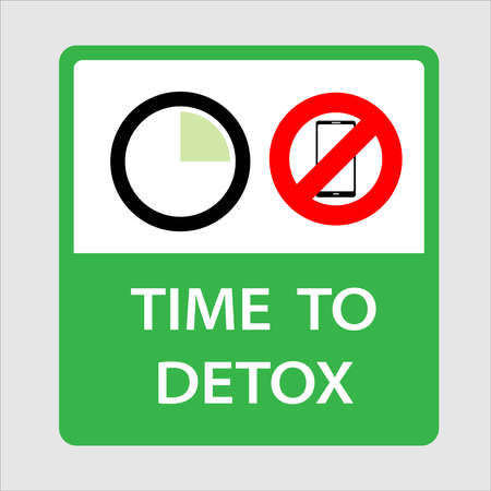 Vector illustration of banner or sticker of clock with quarter hours and no mobile phone. Concept of digital detox. Time to Detox.