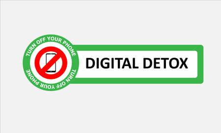 Vector illustration of banner or sticker of no mobile phone. Concept of digital detox.
