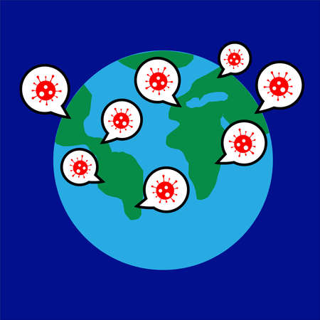 Vector illustration of globe with map of the world with speech bubbles with icon of coronavirus on dark blue background. Concept of people talking about the pandemic virus covid-19 around the world.