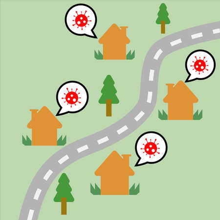 Vector illustration of house and trees along the road and speech bubbles with icon of coronavirus. Concept of people talking about the pandemic virus covid-19 around the world.