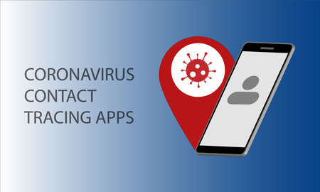 A vector concept of contact tracing apps to the situation of pandemic coronavirus or covid-19. 向量圖像