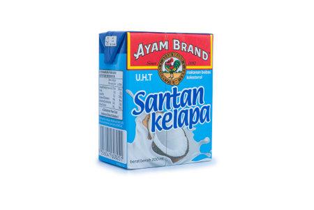 KULIM, MALAYSIA - FEBRUARY 5TH,2021 : Ayam Brand Coconut Milk (Santan Kelapa) isolated on a white background.