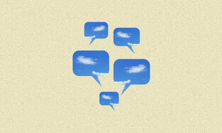 Bubble speech fill with clouds and blue sky on yellow paper background.