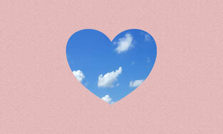 A love or heart icon fill with blue sky and clouds on pink paper background.