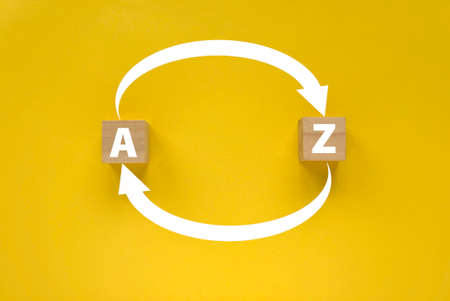 Arrow of an alphabet A to Z and Z to A on yellow background. 版權商用圖片