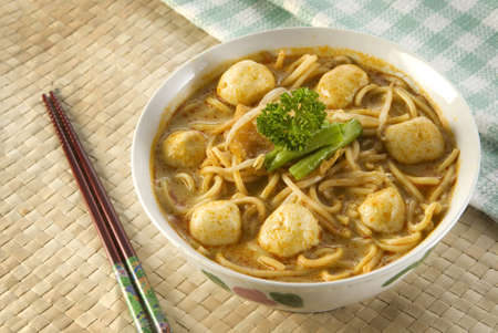 Delicious Curry Mee With Fresh Fish Ball Stock Photo - 16254596