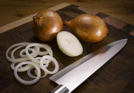 Cutting board with onion knife