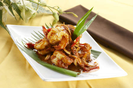 Delicious Asian Traditional Spicy Prawn  Stock Photo