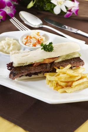Beef Steak Sandwich   Stock Photo