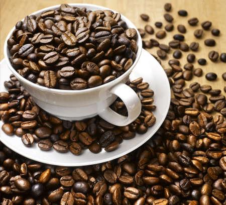 Golden coffee bean close up