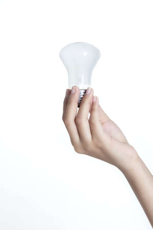 Save Energy With hand holding a light bulb Stock Photo