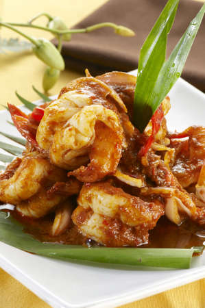 Close up of Delicious Asian Traditional Spicy Prawn